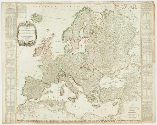 Kitchin Europe Wall Map 1795