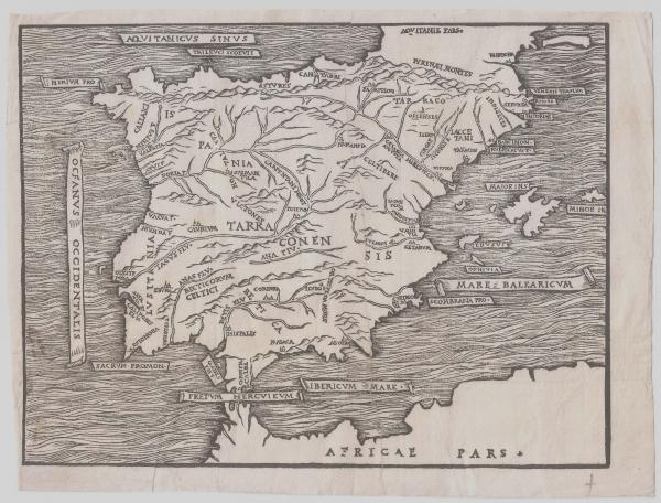 Woodcut Spain and Portugal